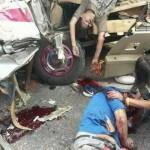 【閲覧注意】バスとトラックの事故現場、まさに地獄絵図・・・(動画)