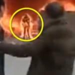 【閲覧注意】炎上する建物から出てきた人・・・見事な丸焼きでビビる。。(動画)