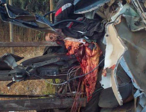 【閲覧注意】車が真っ二つになる事故現場。乗っていた人は?(画像)・4枚目