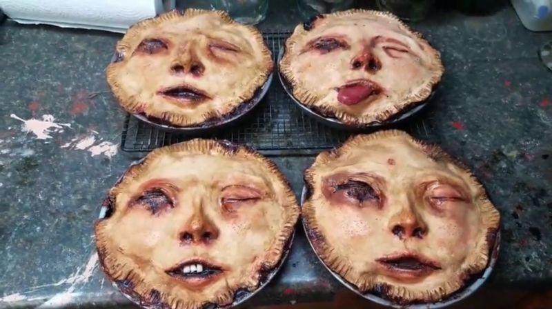 【怖過ぎ】海外ゾンビマニアが焼いたリアル過ぎる人顔ケーキ、頭のネジぶっ飛んでてワロタwwwwwww(画像、動画)・1枚目