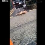 【クレイジー】詳細不明、坂道を全裸で転がってきたラリパッパまんさん・・・・・(動画、画像)