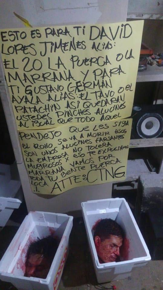 【閲覧注意】メキシコの麻薬カルテル、勢力争いからとんでもないモノを敵対勢力のシマに放置する・・・・・(画像)・3枚目