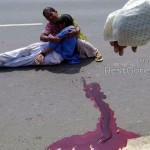 【合掌】インドで轢き逃げされ死亡した少女、血の痕がヤバい・・・・・(画像)