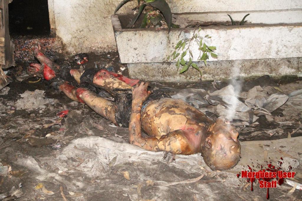【衝撃】焼死したメキシコのホームレス、遺体の口から魂のようなモノが出てると話題に・・・・・(画像)・1枚目
