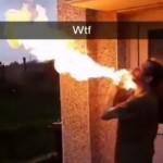 【危険】火吹きパフォーマンスを練習してる男性、危うく死にかける・・・・・(動画)