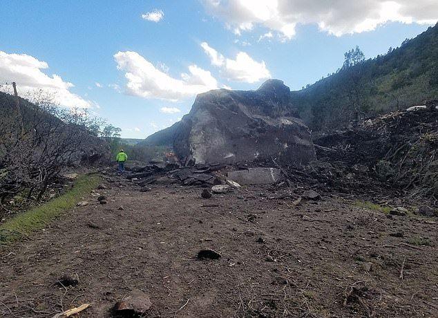 【危険】コロラド州の巨大落石、民家の2倍ほどもある巨岩が落ちてきて高速道路を塞ぐ!!(画像)・3枚目