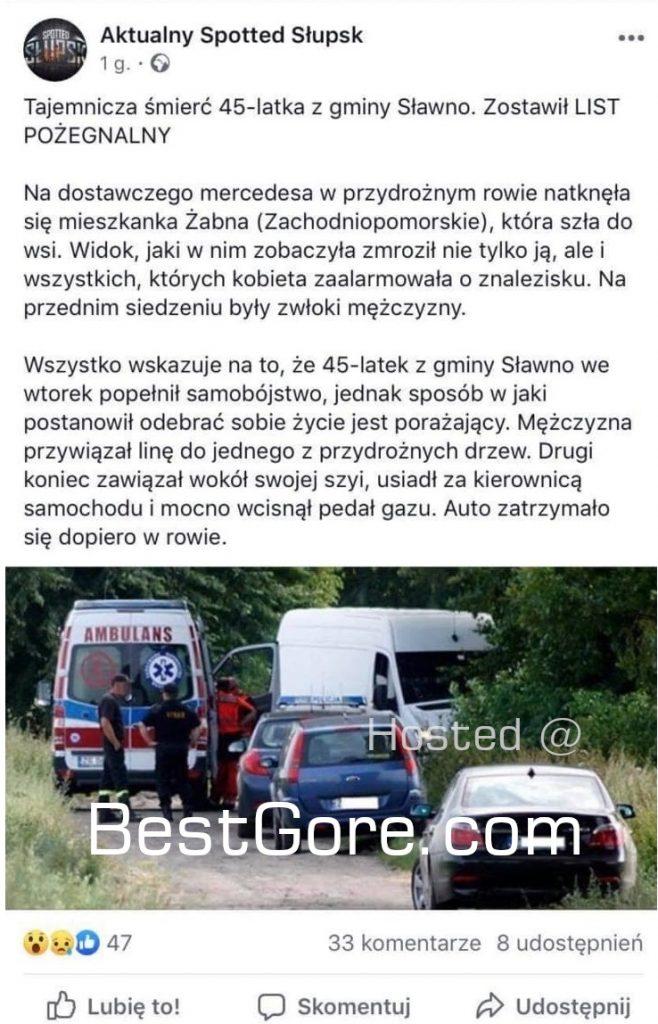 【首チョンパ】ポーランドで起きた猟奇的な自殺、自らの首をロープで街路樹に固定してアクセル全開・・・・・(画像)・5枚目