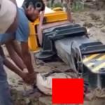 【即死】倒れてきたクレーンが直撃して重機の下敷きになった男性、頭部がペシャンコになる・・・・・(動画)