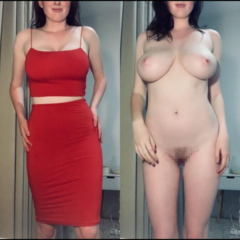 【保存推奨】海外のリア充ニキがネットにうpした彼女の着衣ヌード比較画像、糞エロい!!(画像)・4枚目