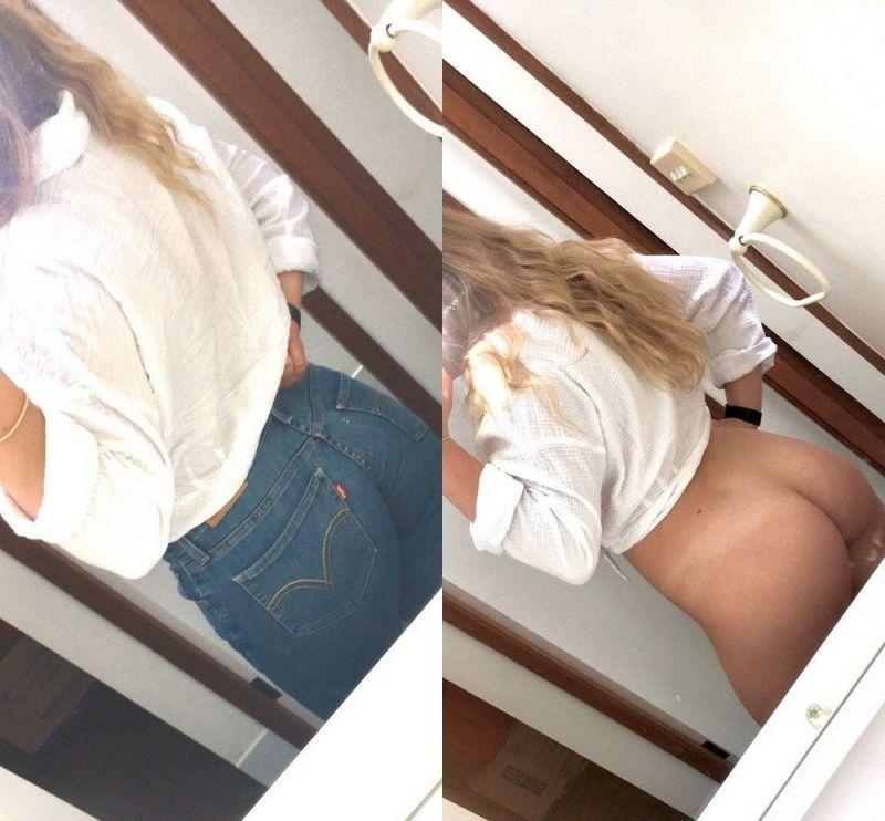 【保存推奨】海外のリア充ニキがネットにうpした彼女の着衣ヌード比較画像、糞エロい!!(画像)・10枚目