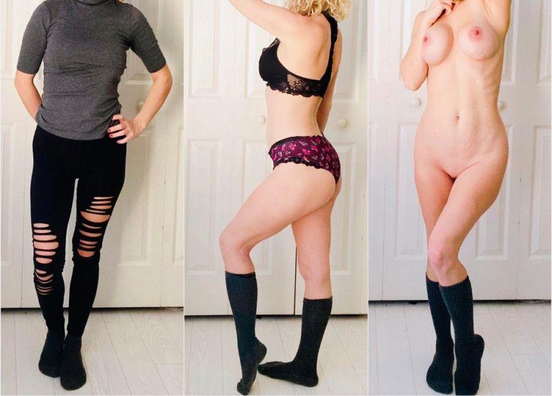 【保存推奨】海外のリア充ニキがネットにうpした彼女の着衣ヌード比較画像、糞エロい!!(画像)・19枚目