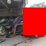 【悲惨】ミャンマーのバイク事故、3人乗りしたまま猛スピードでトラックの下に突っ込み全員即死・・・・(画像)