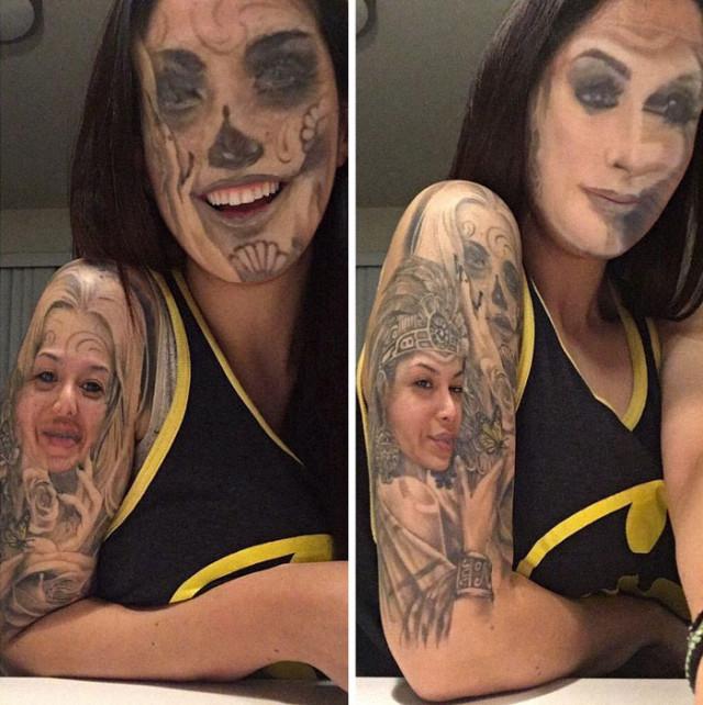 【楽しそうwww】顔入れ替えアプリを使って自分のタトゥーと顔面を入れ替える陽キャ外国人wwwwww(画像あり)・3枚目