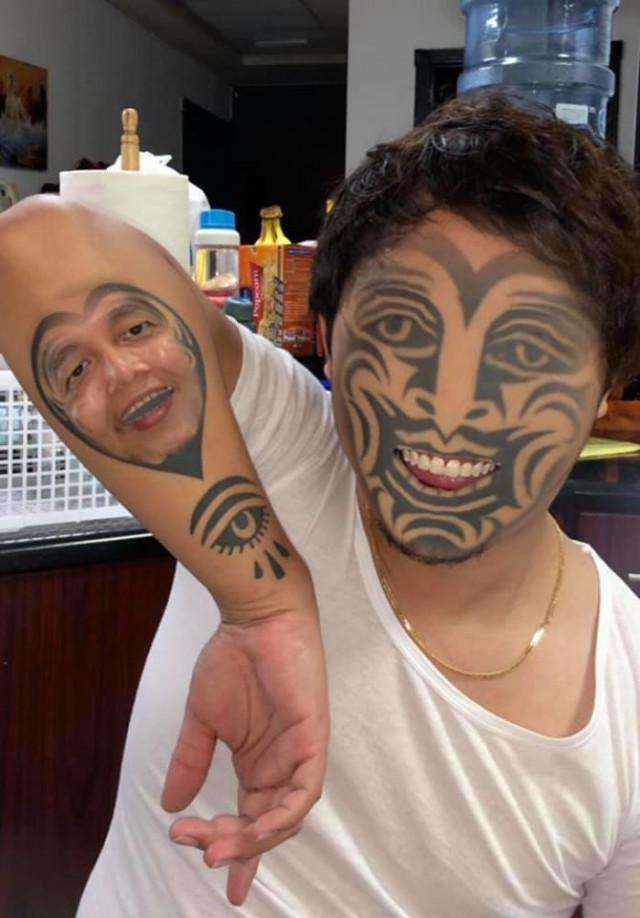 【楽しそうwww】顔入れ替えアプリを使って自分のタトゥーと顔面を入れ替える陽キャ外国人wwwwww(画像あり)・4枚目