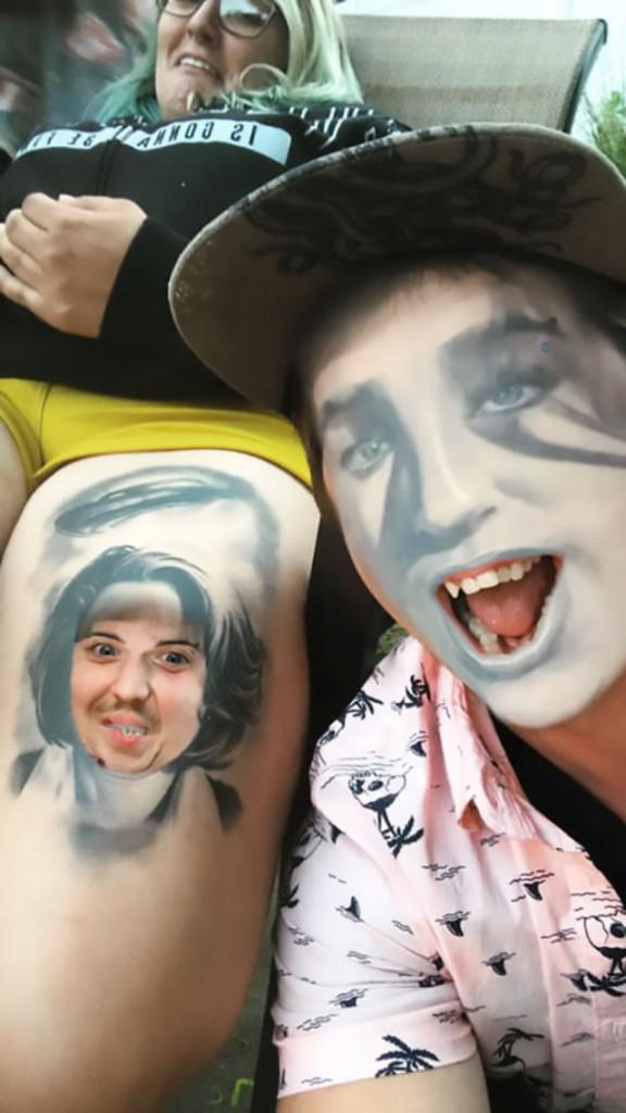 【楽しそうwww】顔入れ替えアプリを使って自分のタトゥーと顔面を入れ替える陽キャ外国人wwwwww(画像あり)・7枚目