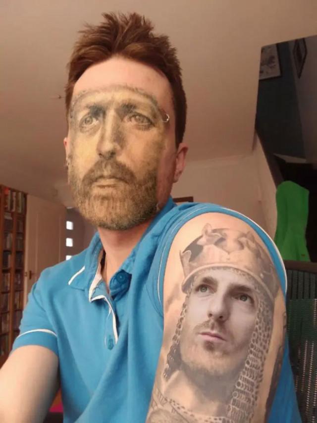 【楽しそうwww】顔入れ替えアプリを使って自分のタトゥーと顔面を入れ替える陽キャ外国人wwwwww(画像あり)・9枚目